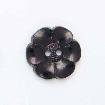 K267-Blk-36L Black Flower 23mm Buttons x 10