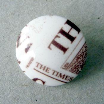 B11759-44L Printed Newspaper Coat 28mm Italian Button