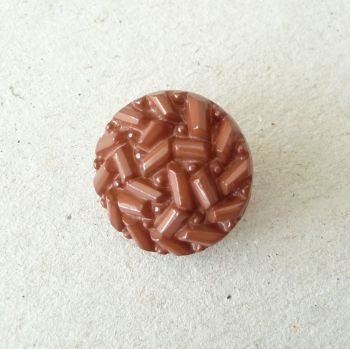 TCS17-B-28L Chocolate Brown Faux Beaded 18mm Buttons x 10