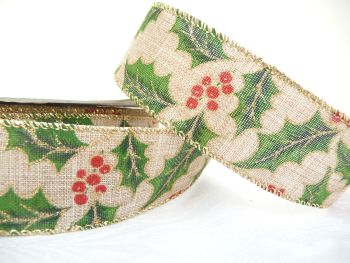 COS20B12 Holly on Linen 38mm Wired Edge Ribbon
