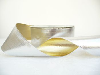 COS20AB06 Gold / Silver Reversible Wired Edge 63mm Ribbon