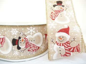 COS20B15 Snowmen on Linen 63mm Wired Edge Ribbon
