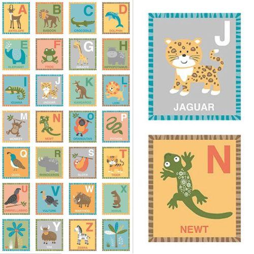 2204 Baby Jungle ABC Nursery Quilt Panel