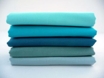 FQB10 Fat Quarter Bundle Turquoise - Vintage Blue