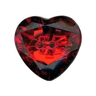LK514-44 Red Heart Gem Button - 28mm