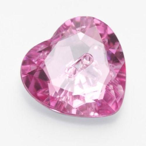 LK514-44-05 Pink Heart Gem Button - 28mm