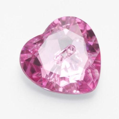 LK514-25-05 Pink Heart Gem Button - 15mm