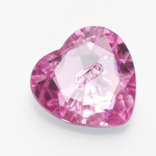 LK514-19-05 Pink Heart Gem Button - 12mm