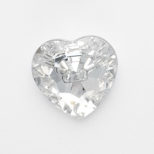 G774-25-01 Clear Heart Gem Button - 15mm