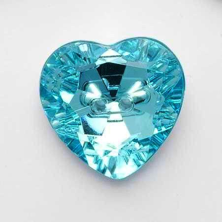 G774-25-23 Turquoise Heart Gem Button - 15mm