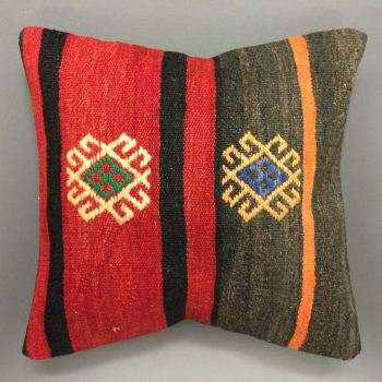 Cushion red/brown with black/orange stripe