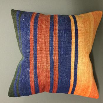 Cushion orange/blue/terracotta/green stripes