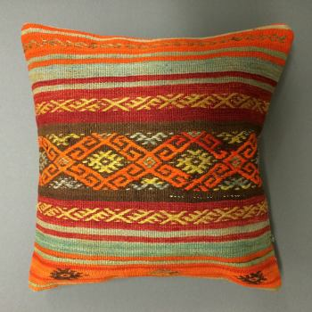Cushion bright orange/red/brown/blue stripes with pattern