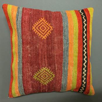 "Cushion red/blue/orange/green stripe ""face"""