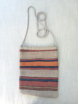 Bag - natural/orange/red/blue stripe
