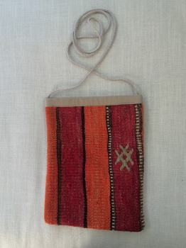 Bag - red/orange/vertical stripe #