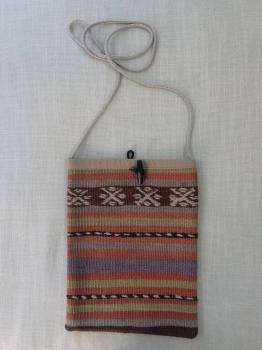 Bag - terracotta/natural/purple stripe