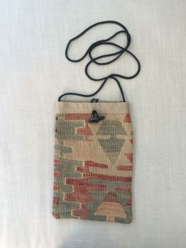 Bag - green/terracotta/natural pattern