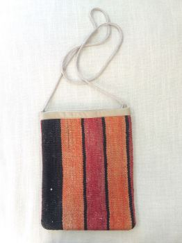 Bag - red/orange/brown/natural vertical stripe