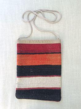 Bag - red/orange/brown/natural horizontal stripe