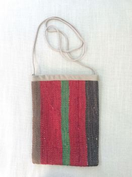 Bag - red/brown green stripe