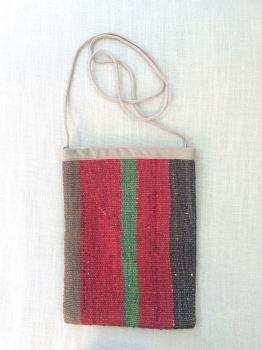Bag - red/brown green stripe
