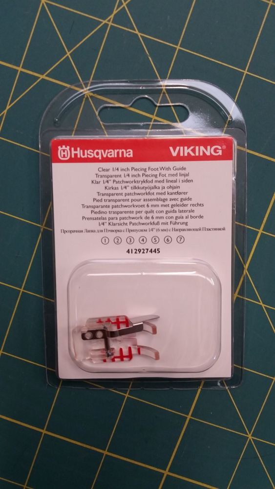 Husqvarna Viking Clear 1/4 inch Piecing Foot 412927445 Fits all Viking mach