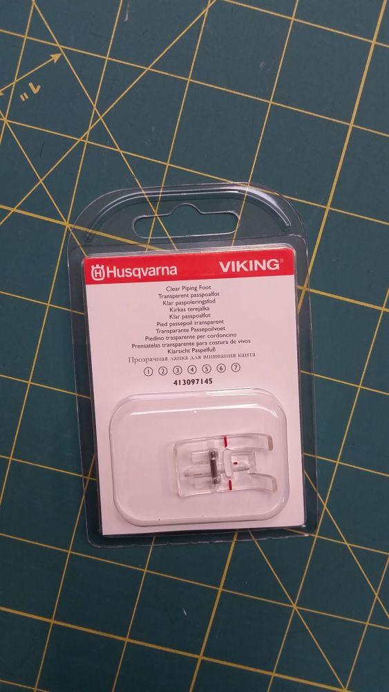 Husqvarna Viking Clear Piping Foot 413097145 Fits most Viking machines