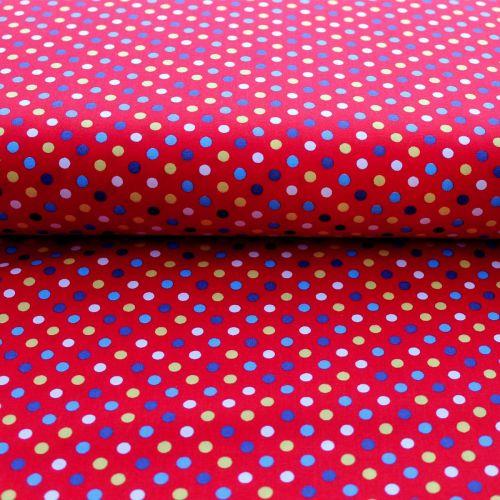 Multi Coloured Red Dots Cotton Print
