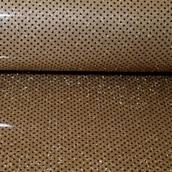 Polka Dot Glitter vinyl fabric Dark Gold