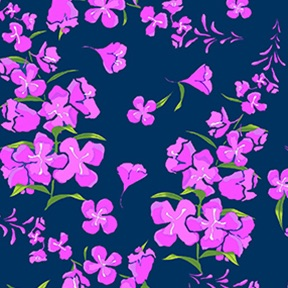 Wildflowers by Teresa Ascone for Clothworks Fabric.Wildflowers Tossed Floral  Navy