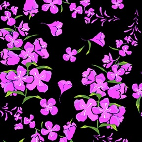 Wildflowers by Teresa Ascone for Clothworks Fabric.Wildflowers Tossed Floral Black