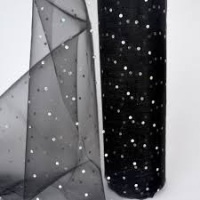 Black  Organza Snow Sheer