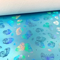 Turquoise  Holographic butterfly vinyl fabric sold in sizes a4 , A3 and Roll