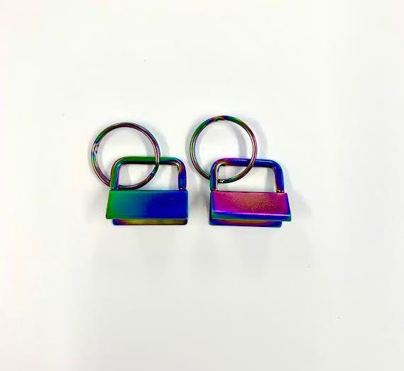 Key Fob Hardware, Ribbon Key Fob Style , Oil slick Rainbow