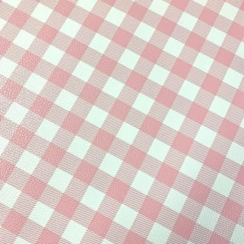 Pink Gingham Printed Faux leather