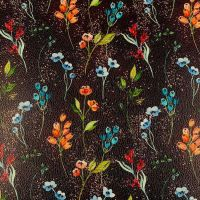 Dark Floral Printed Faux Leather