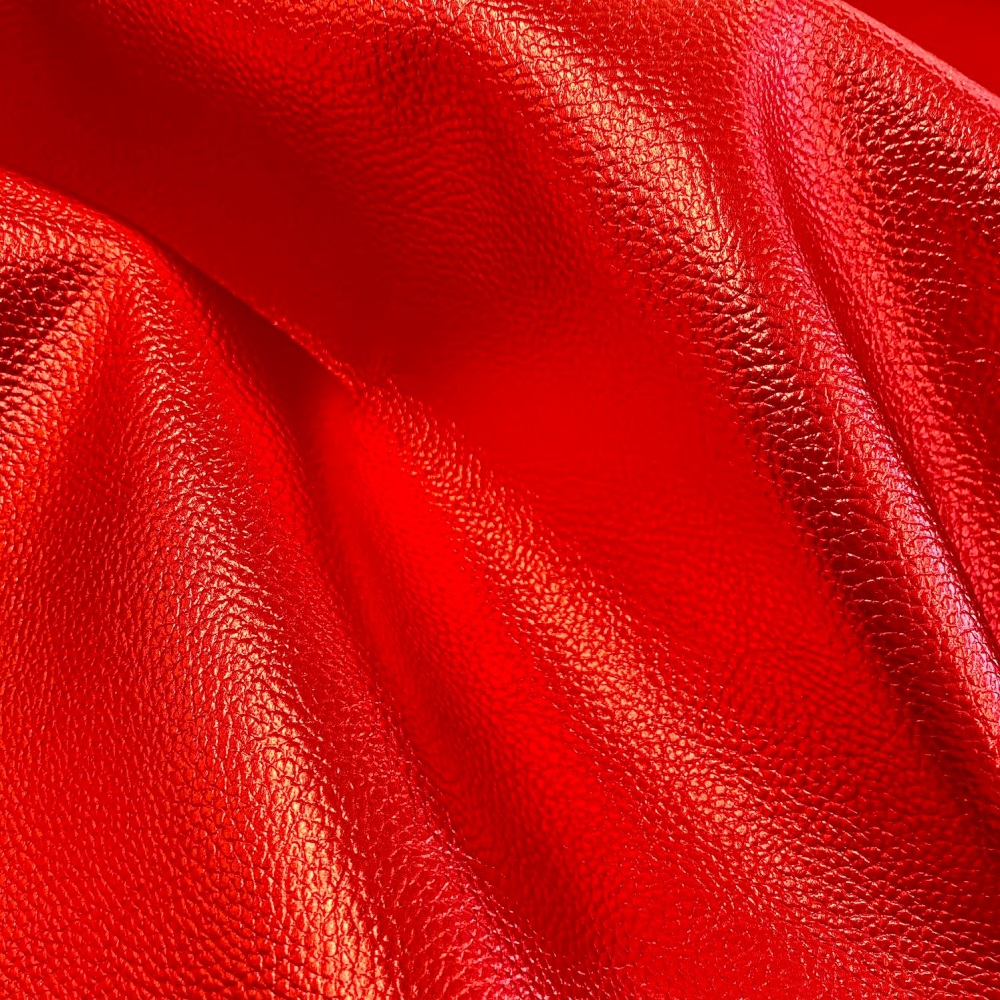 Red Faux Metallic Faux Leather