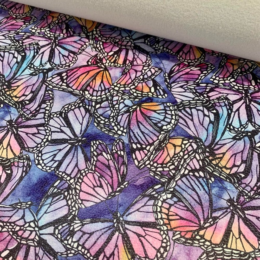 Watercolour Butterflies printed faux leather