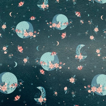 Floral Space faux leather