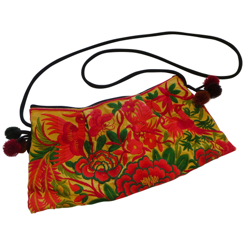 Embroidered Flora and Fauna Bag - Yellow