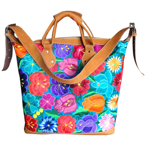 Turquoise Floral Embroidered Weekend Bag