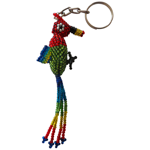 Quetzal Parrot Beaded Keyring