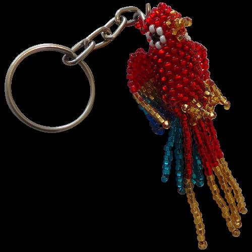 Red Parrot Beaded Keyring