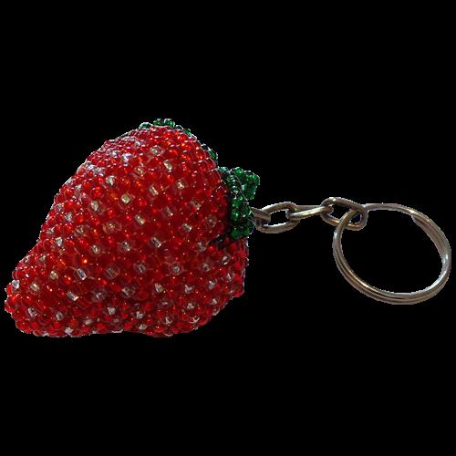 Strawberry Beaded Keyring