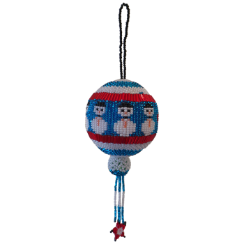 Jolly Snowman Blue Christmas Bauble