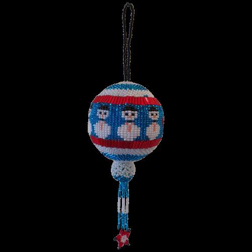 Jolly Snowman Blue Christmas Bauble