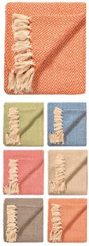 Soft Cotton Chevron Throw - Choose Your Colour