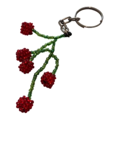 Cherries Beaded Keyring