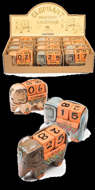 Elephant Wooden Block Calendar
